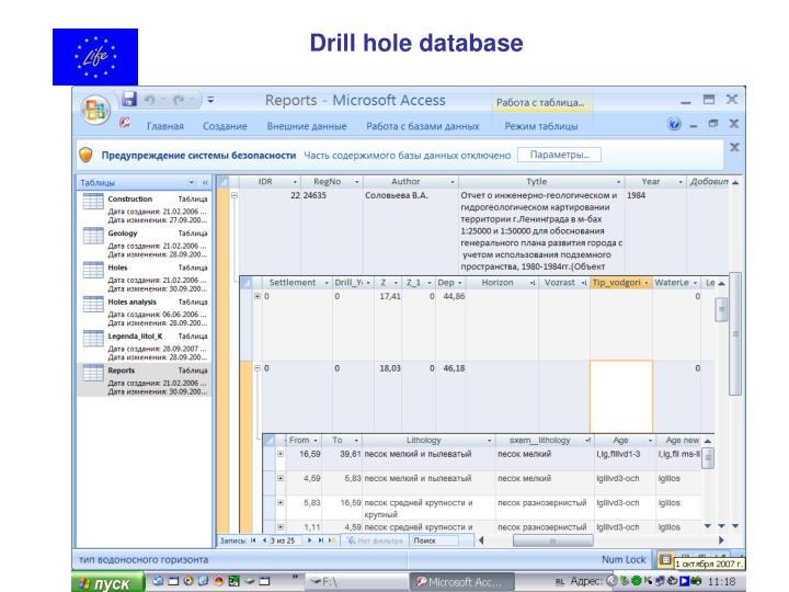 Drill hole database