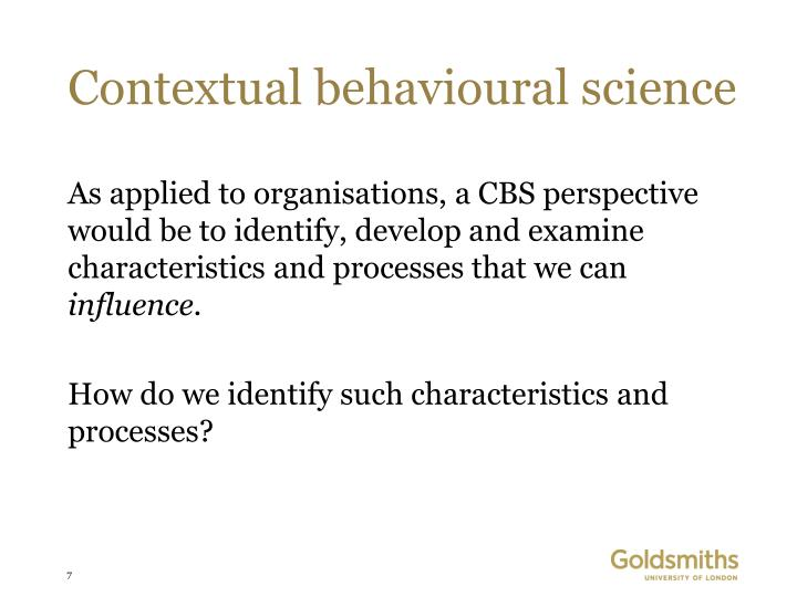 Contextual behavioural science