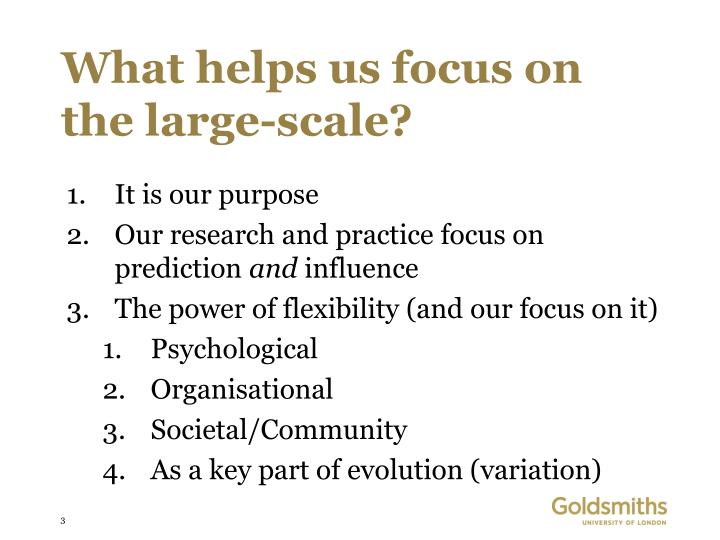 What helps us focus on the large-scale?