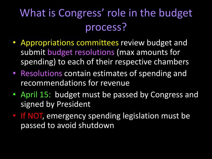 What is Congress' role in the budget process?