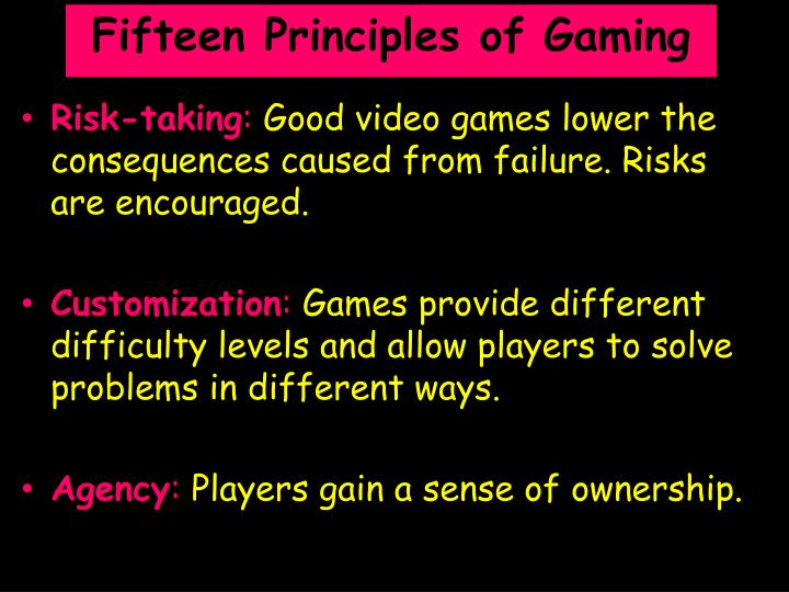 Fifteen Principles of Gaming