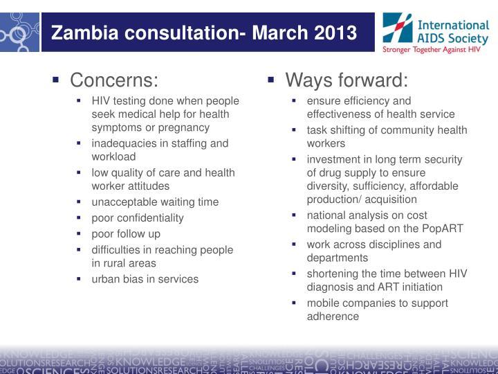 Zambia consultation- March 2013