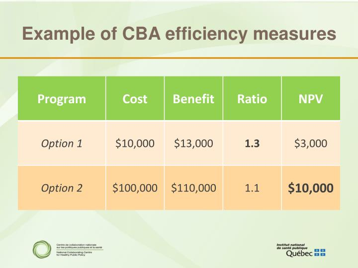 Example of CBA efficiency measures