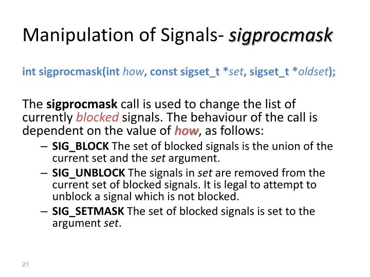 Manipulation of Signals-
