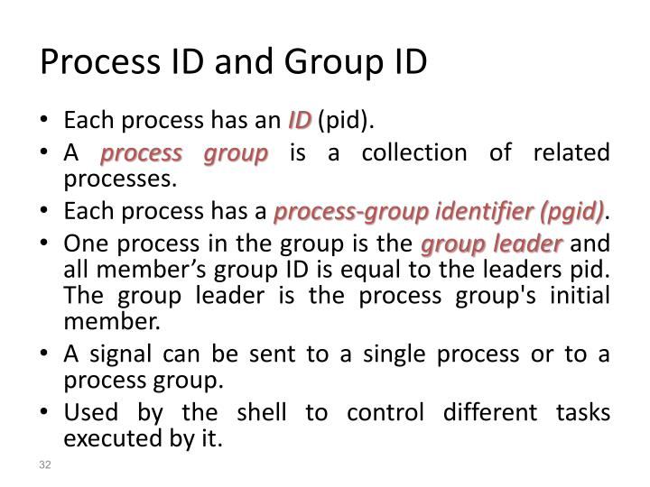 Process ID and Group ID