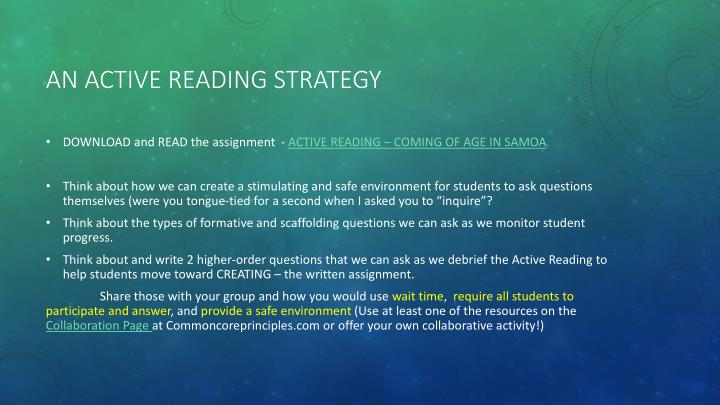 AN Active reading strategy