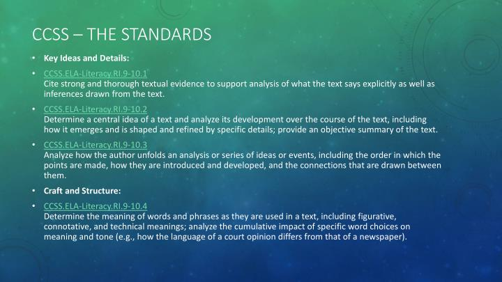 CCSS – the standards