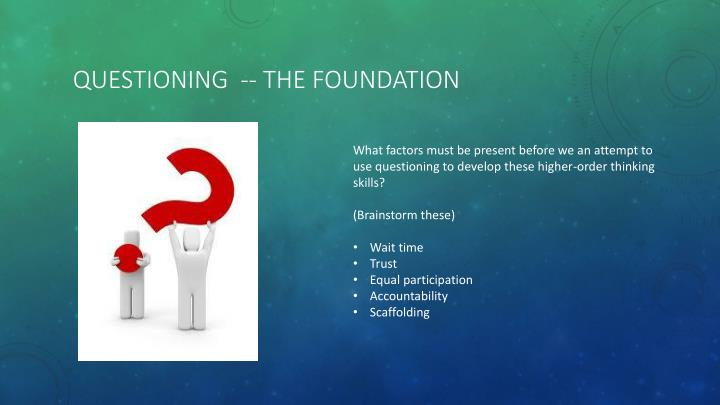 questioning  -- the foundation