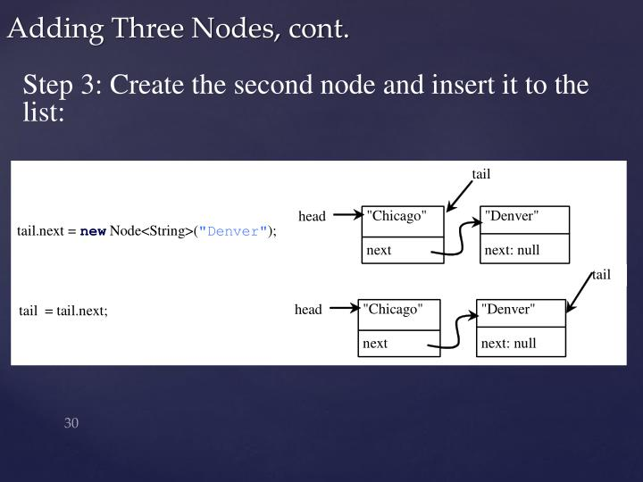 Step 3: Create the second node and insert it to the list: