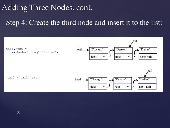 Step 4: Create the third node and insert it to the list:
