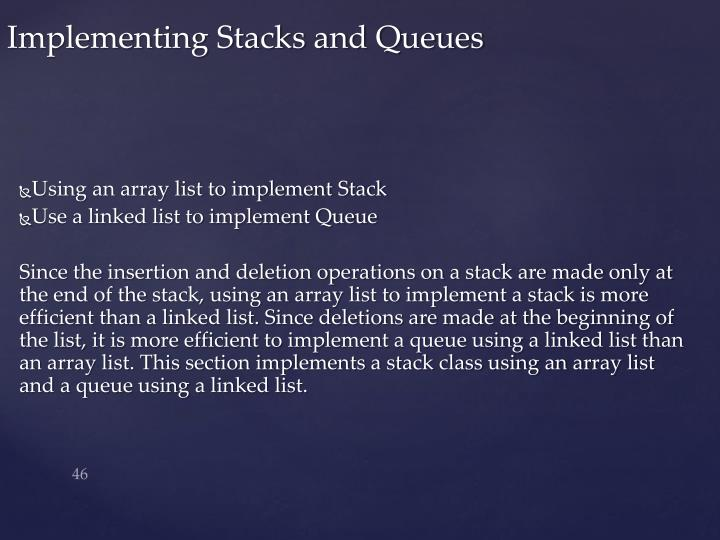 Using an array list to implement Stack