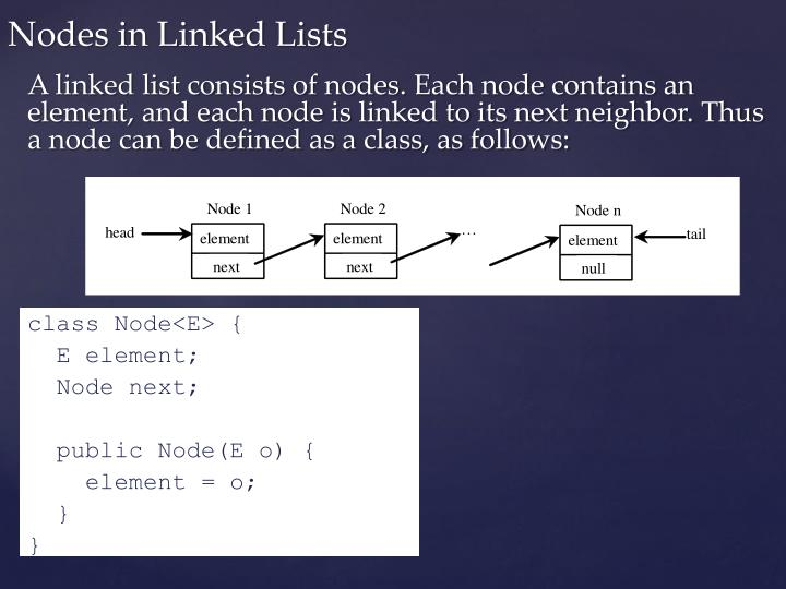 A linked list consists of nodes. Each node contains an element, and each node is linked to its next neighbor. Thus a node can be defined as a class, as follows: