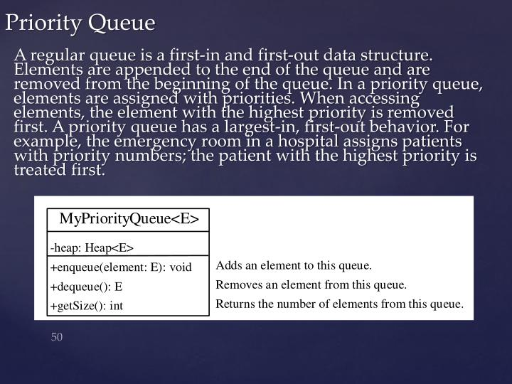 A regular queue is a first-in and first-out data structure. Elements are appended to the end of the queue and are removed from the beginning of the queue. In a priority queue, elements are assigned with priorities. When accessing elements, the element with the highest priority is removed first. A priority queue has a largest-in, first-out behavior. For example, the emergency room in a hospital assigns patients with priority numbers; the patient with the highest priority is treated first.
