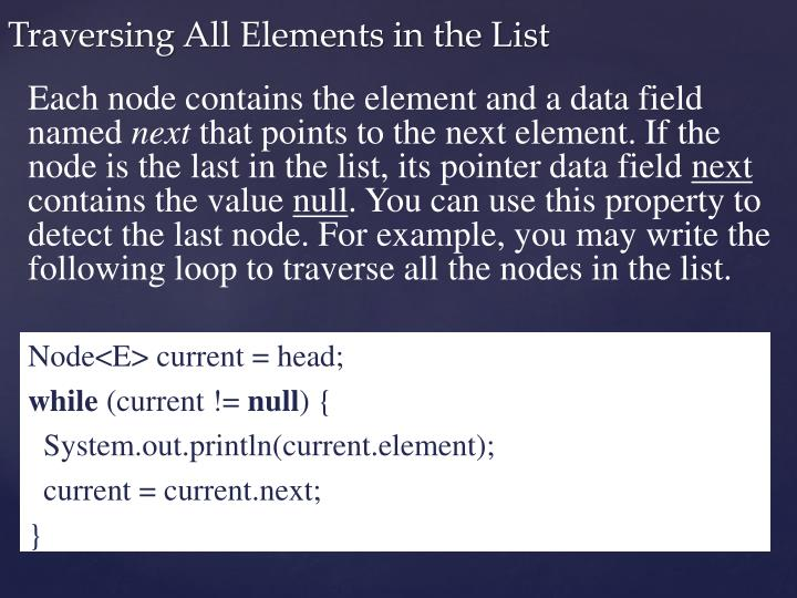 Each node contains the element and a data field named