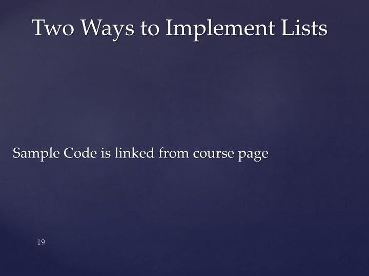 Sample Code is linked from course page