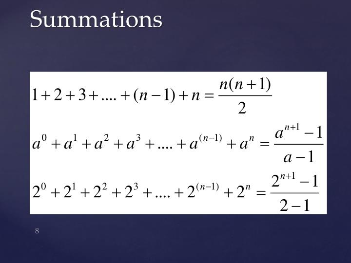 Useful Mathematic Summations
