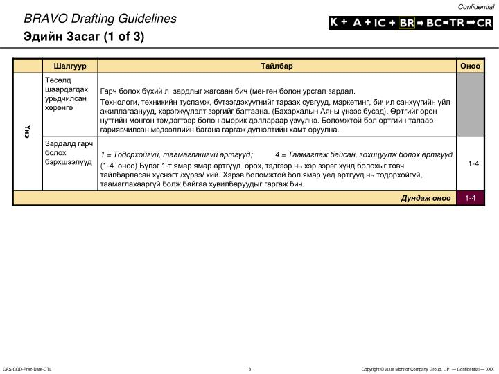 Bravo drafting guidelines 1 of 3