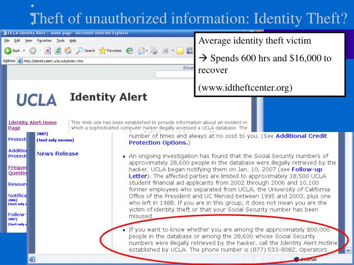 Theft of unauthorized information: Identity Theft?