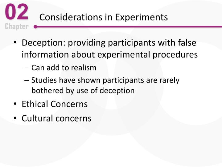 Considerations in Experiments