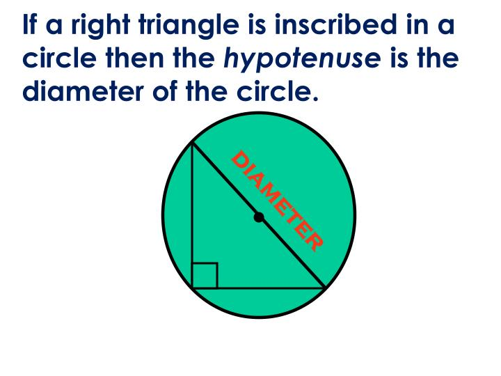 If a right triangle is inscribed in a circle then the