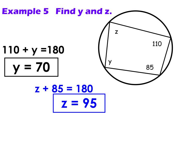 Example 5   Find y and z.