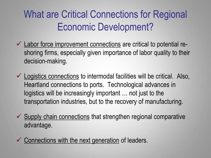 What are Critical Connections for Regional Economic Development?