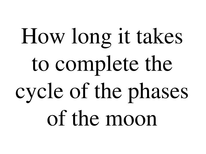 How long it takes to complete the cycle of the phases of the moon