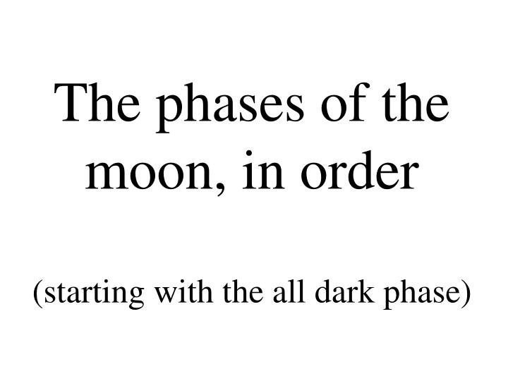 The phases of the moon, in order