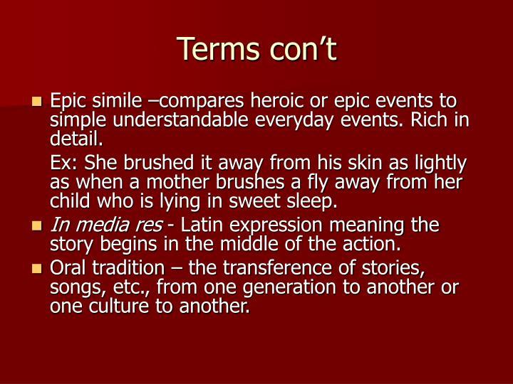 Terms con't