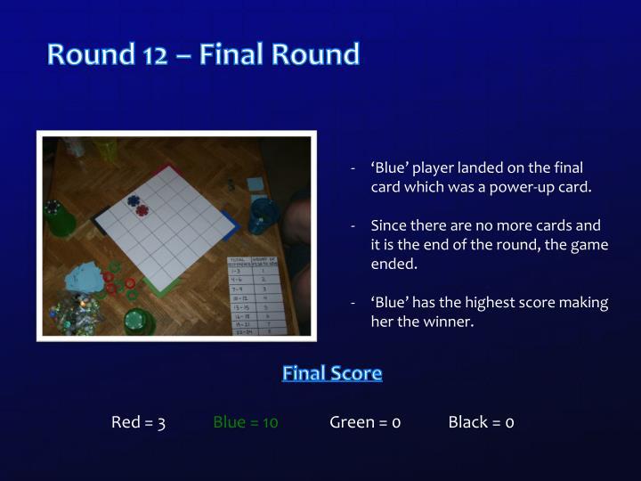 Round 12 – Final Round
