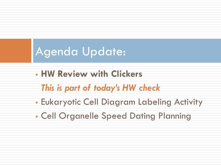 Agenda Update: