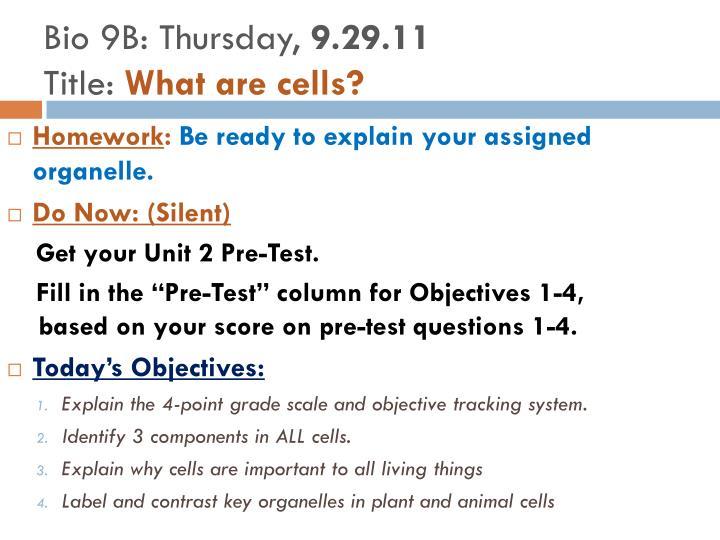 Bio 9B: Thursday,