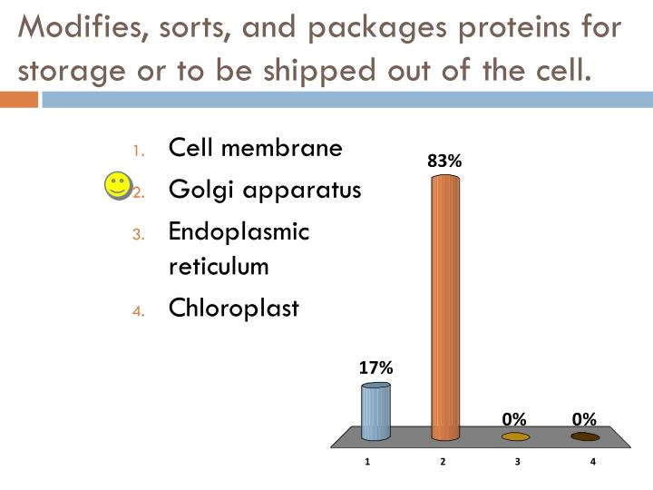 Modifies, sorts, and packages proteins for storage or to be shipped out of the cell.