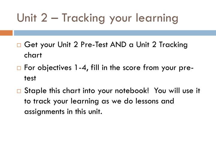 Unit 2 – Tracking your learning
