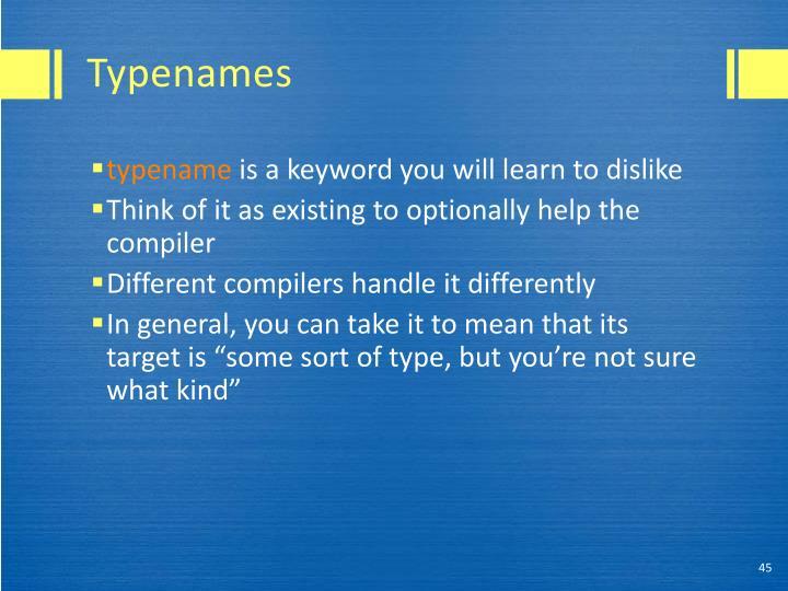 Typenames
