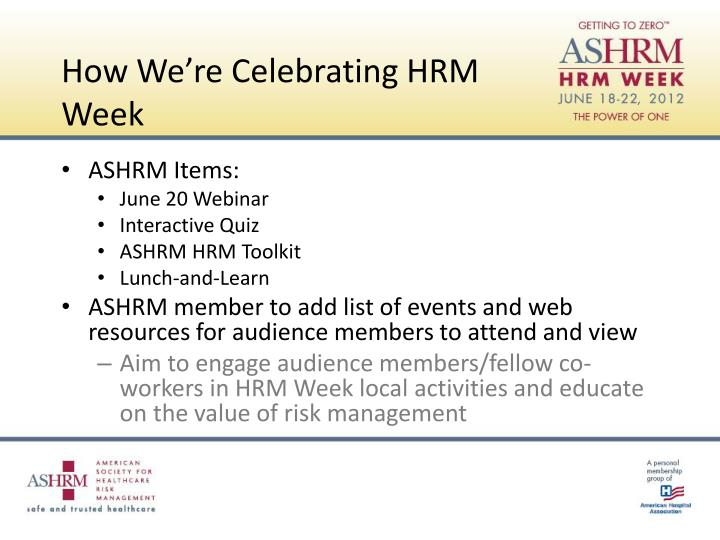 How We're Celebrating HRM Week
