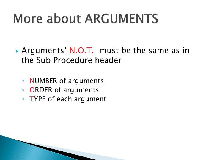 More about ARGUMENTS