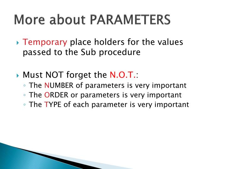 More about PARAMETERS