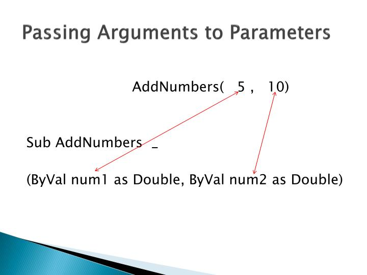 Passing Arguments to Parameters