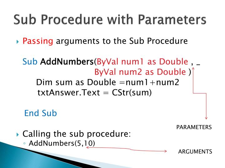 Sub Procedure with Parameters