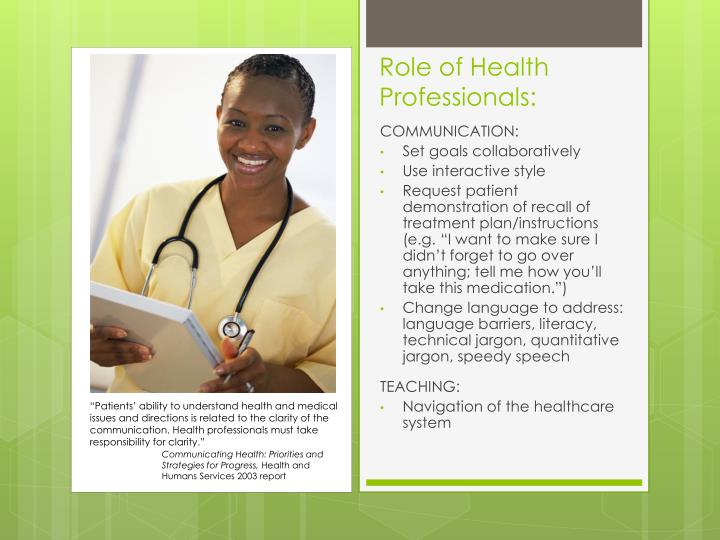 Role of Health Professionals: