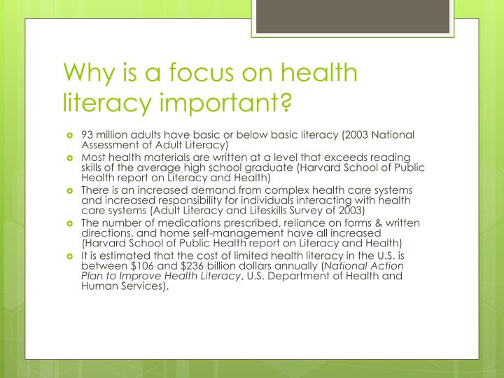 Why is a focus on health literacy important?