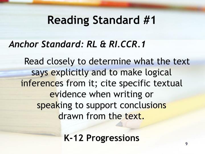 Reading Standard #1