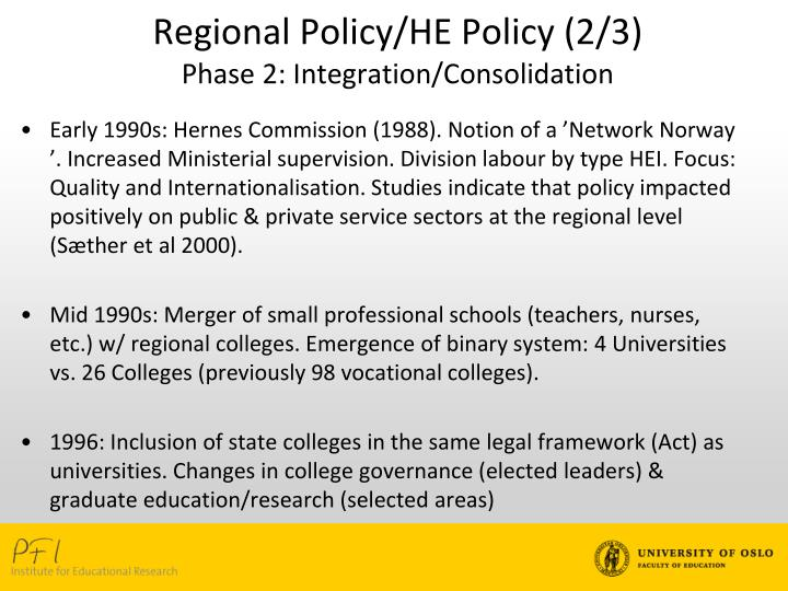 Regional Policy/HE Policy (2/3)
