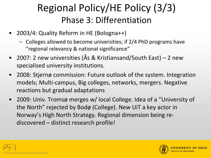 Regional Policy/HE Policy (3/3)