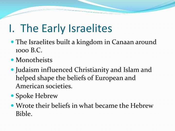 I the early israelites