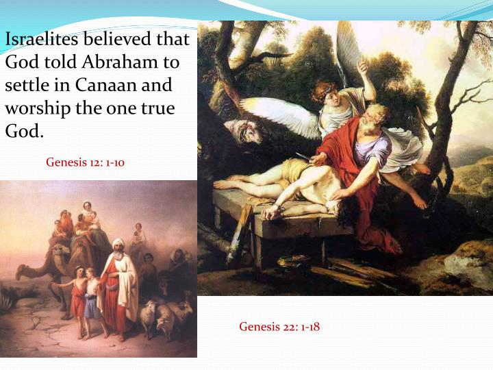Israelites believed that God told Abraham to settle in Canaan and worship the one true God.
