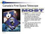 canada s first space telescope
