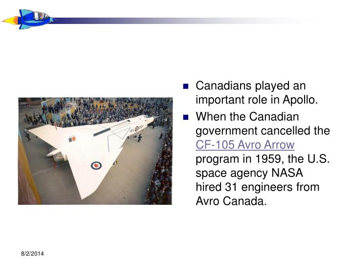 Canadians played an important role in Apollo.