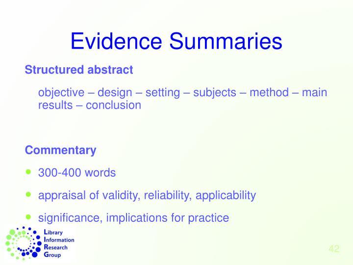Evidence Summaries